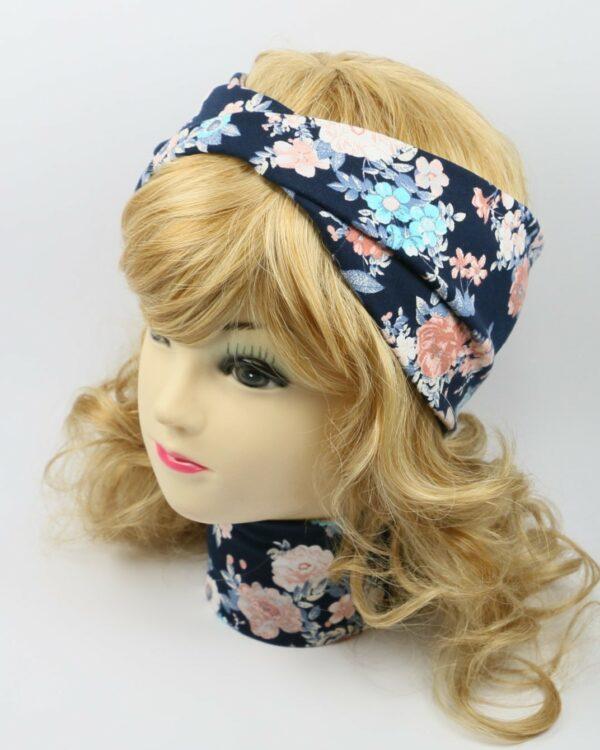 Bavlnená čelenka modré kvety 5810 (1)