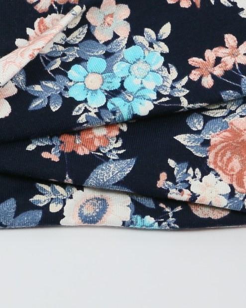 Bavlnená čelenka modré kvety detail 5810 (5)