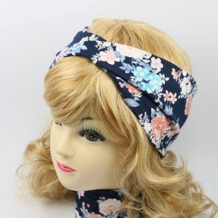 Bavlnená čelenka modré kvety